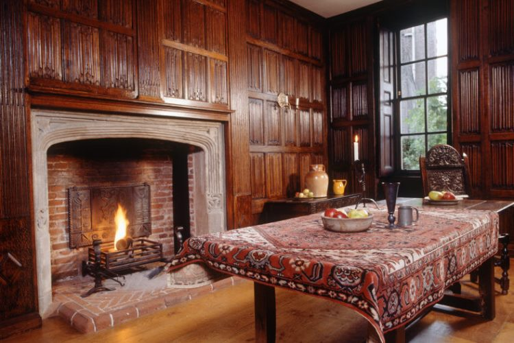 Room view of the Linenfold Chamber towards the fireplace at Sutton House, Hackney
